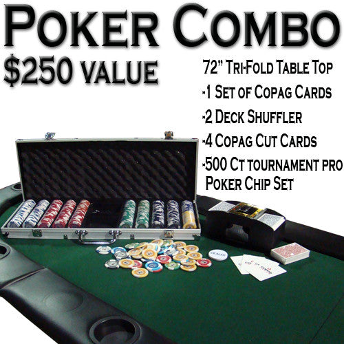 "Brybelly ACP-0048 Texas Hold 'Em Poker Combo Pack w/ 72"" Tri-Fold Table Top"