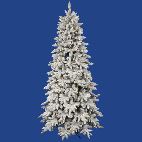 3.5' Vickerman A100536LED Flocked Olympia Fir - Flocked White on Green Christmas Tree - Peazz.com