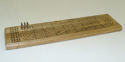 3 Tracks Cribbage Board in Oak 33503