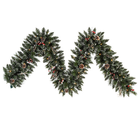 1' Vickerman B106313 Snow Tip Pine/Berry - Frosted - Peazz.com