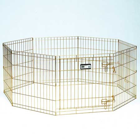 Gold Zinc Pet Exercise Pen - 30in - Peazz.com