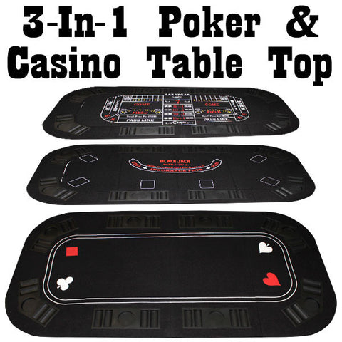 Brybelly GPTT-301 3-In-1 Poker & Casino Folding Table Top - Peazz.com