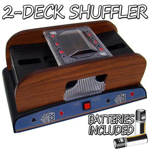 Brybelly GSHU-004.Free-10 2 Deck Wooden Deluxe Card Shuffler w/ Batteries - Peazz.com