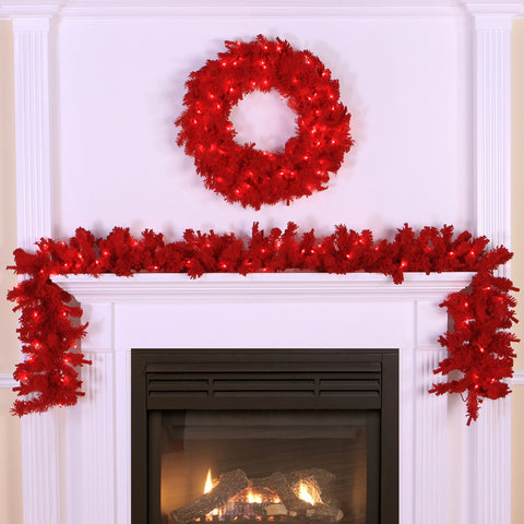 1.2' Vickerman K896114 Red Flocked Spruce - Flocked Red on Red - Peazz.com