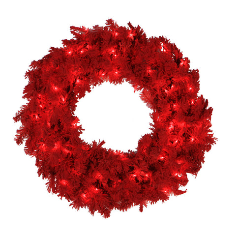 2' Vickerman K896124 Red Flocked Spruce - Flocked Red on Red - Peazz.com