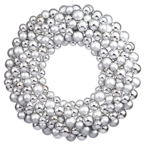 2' Vickerman N114407 Colored Ball Wreath - Silver - Peazz.com