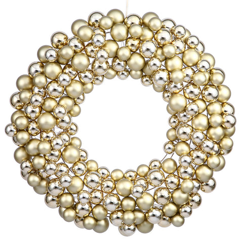 2' Vickerman N114408 Colored Ball Wreath - Gold - Peazz.com