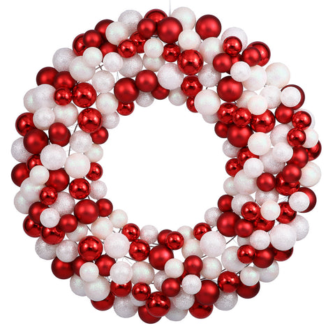 3' Vickerman N114601 Colored Ball Wreath - Candy Cane - Peazz.com