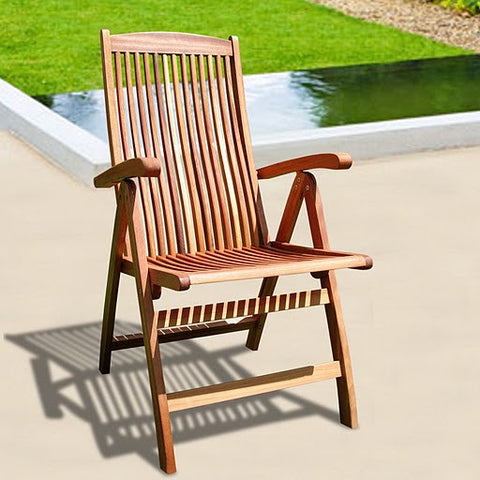 Vifah V145 Outdoor Wood Reclining Chair - Peazz.com