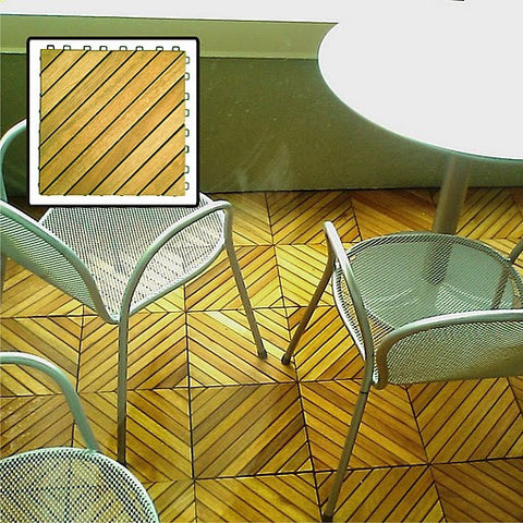 Vifah V368 Interlocking Deck Tile.  12 Diagonal Slat Design.  Acacia Plantation Hardwood (Teak Finish). - Peazz.com