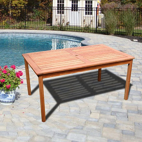 Vifah V98 Outdoor Wood Balthazar Rectangular Table - Peazz.com