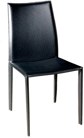 Wholesale Interiors ALC-1025 Black Rockford Black Leather Dining Chair - Set of 2 - Peazz.com