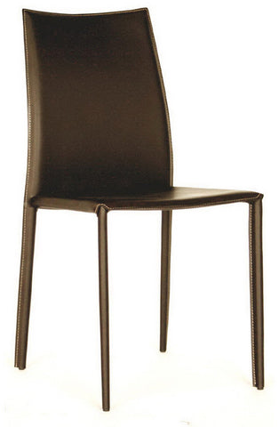 Wholesale Interiors ALC-1025 Brown Rockford Brown Leather Dining Chair - Set of 2 - Peazz.com