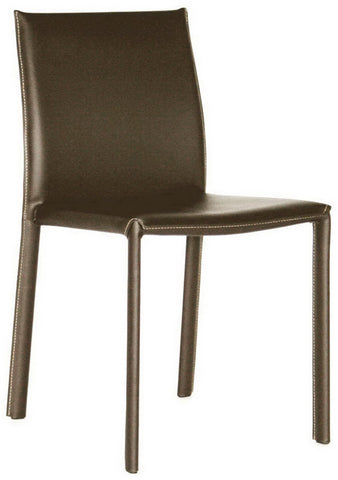 Wholesale Interiors ALC-1822 Brown Brown Burridge Leather Dining Chair - Set of 2 - Peazz.com