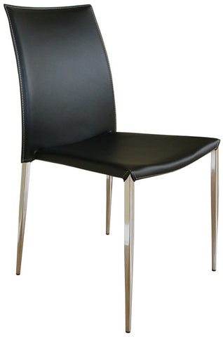 Wholesale Interiors ALC-1899 Black Benton Black Leather Dining Chair - Set of 2 - Peazz.com