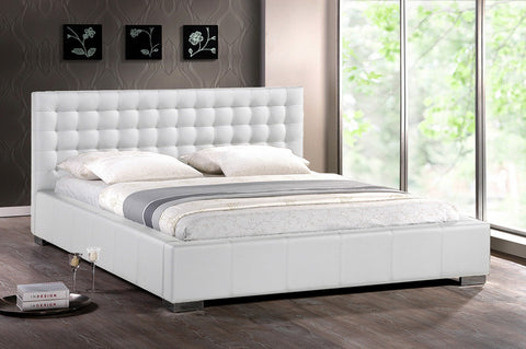 Wholesale Interiors BBT6183-White-King Bed Madison White Modern Bed with Upholstered Headboard (King Size) - Each - Peazz.com