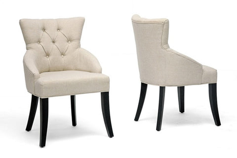 Halifax Beige Linen Dining Chair (Set of 2) - Peazz.com