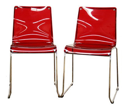 Lino Transparent Red Acrylic Accent Chair Dining Chair (Set of 2) - Peazz.com