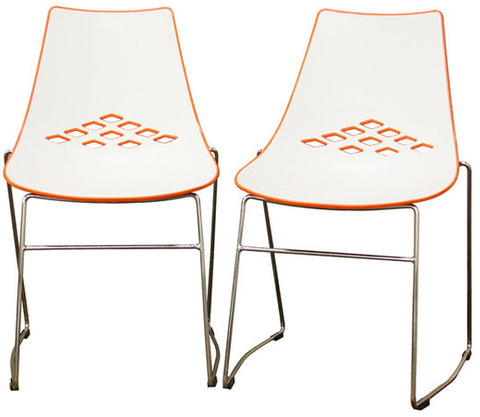 Wholesale Interiors DC-319-orange Jupiter White and Orange Plastic Modern Dining Chair - Set of 2 - Peazz.com