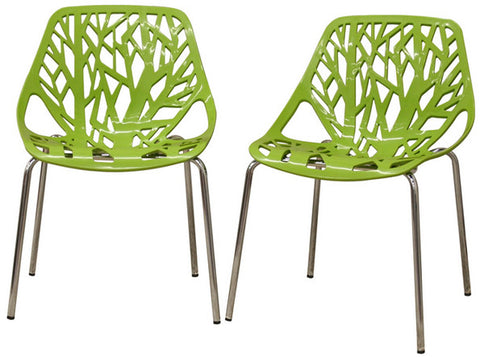 Wholesale Interiors DC-451-Green Birch Sapling Green Plastic Modern Dining Chair - Set of 2 - Peazz.com