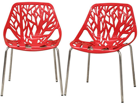 Wholesale Interiors DC-451-Red Birch Sapling Red Plastic Modern Dining Chair - Set of 2 - Peazz.com