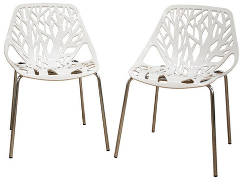 Wholesale Interiors DC-451-White Birch Sapling White Plastic Accent / Dining Chair - Set of 2 - Peazz.com