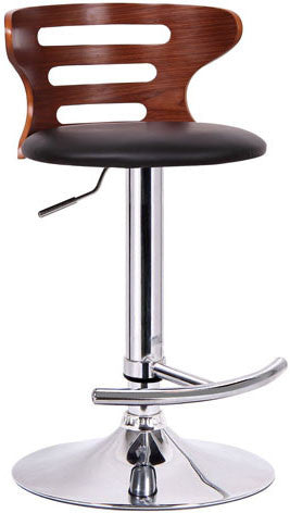 Wholesale Interiors SD-2019-walnut/black-PSTL Buell Walnut and Black Modern Bar Stool - Each - Peazz.com