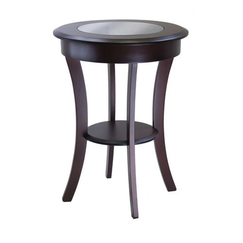 Winsome Wood Cassie Cappuccino Round Accent Table with Glass 40019 - Peazz.com