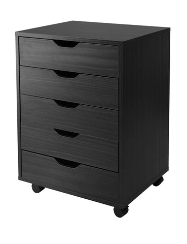 Winsome Wood 20519 Halifax Cabinet for Closet / Office, 5 Drawers, Black - Peazz.com