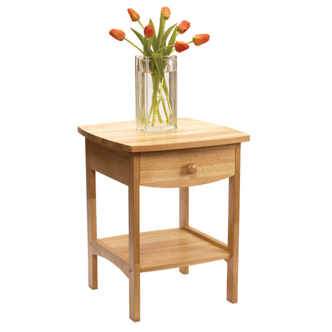 Winsome Wood 82218 Curved End table/Night Stand with one drawer - Peazz.com
