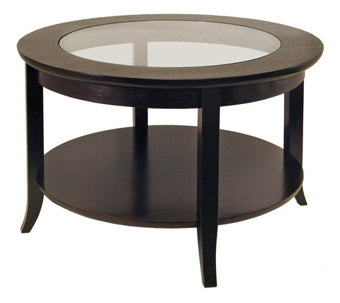 Winsome Wood 92219 Genoa Coffee Table, Glass inset and shelf - Peazz.com
