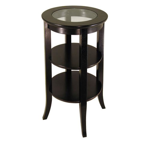 Winsome Wood 92318 Genoa Accent Table, Inset Glass, two shelves - Peazz.com