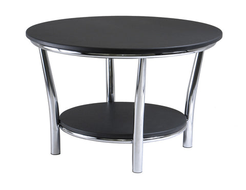 Winsome Wood 93230 Maya Round Coffee Table, Black Top, Metal Legs - Peazz.com