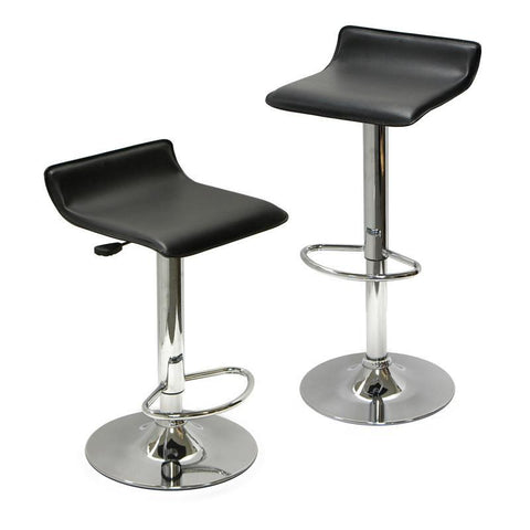 Winsome Wood 93329 Spectrum Set of 2, Adjustable Air Lift Stool, Black Faux Leather, RTA - BarstoolDirect.com