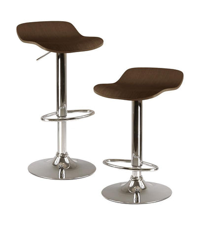 Winsome Wood 93489 Kallie set of 2 Air Lift Adjustable Stool, Natural Wood Veneer Top and Metal Base - BarstoolDirect.com