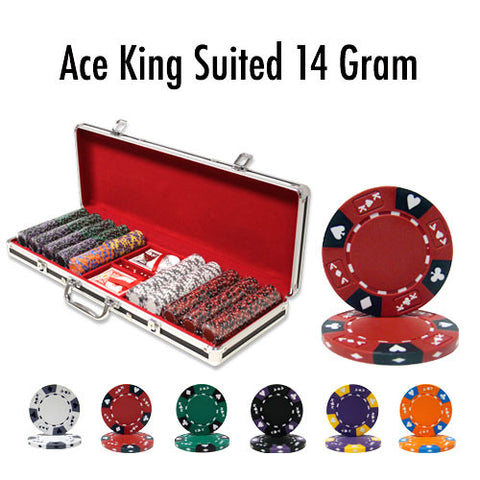 Brybelly PCS-2803B 500 Ct - Pre-Packaged - Ace King Suited 14 G Black Aluminum - Peazz.com