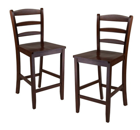 "Winsome Wood 94244 Set of 2, 24"" Counter Ladder Back Stool - BarstoolDirect.com"