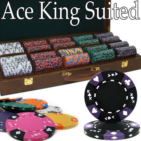 Brybelly PCS-2803W Pre-Pack - 500 Ct Ace King Suited Chip Set Walnut Case - Peazz.com