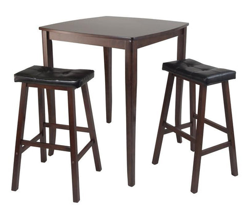 Winsome Wood 94360 3pc Inglewood High/Pub Dining Table with Cushioned Saddle Stool - BarstoolDirect.com
