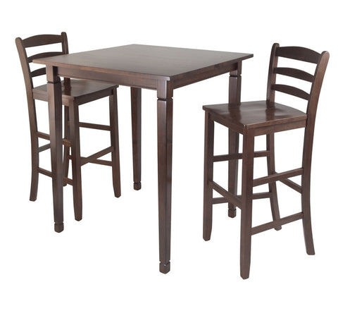 Winsome Wood 94369 3pc Kingsgate High/Pub Dining Table with Ladder Back High Chair - Peazz.com