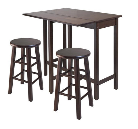 Winsome Wood 94394 Lynnwood Drop Leaf Island Table with 2 Square Legs Stool Walnut - BarstoolDirect.com