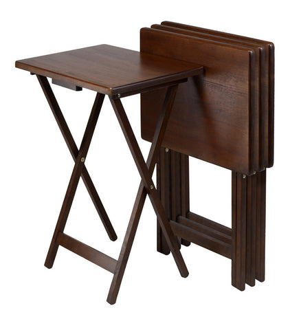 Winsome Wood 94419 Set of 4 Single TV tables, Rect, Walnut (94120) - Peazz.com