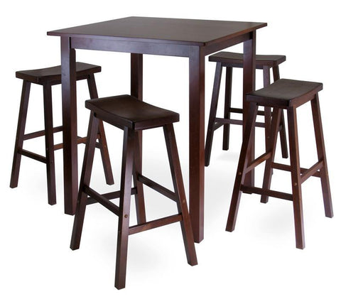 Winsome Wood 94549 Parkland 5pc Square High/Pub Table Set with 4 Saddle Seat Stools - BarstoolDirect.com