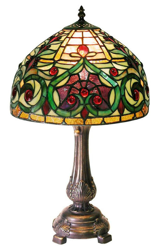 Tiffany Style Jeweled Petite Table Lamp by Warehouse of Tiffany 1669+M