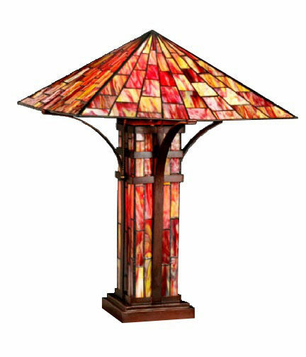 Tiffany Style Mission Double Light Table Lamp By Warehouse Of Tiffany