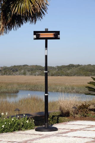 Well Traveled Living 2678 Black Powder Coated Steel Telescoping Offset Pole Mounted Infrared Patio Heater - Peazz.com