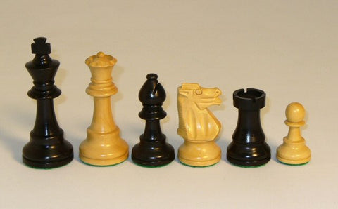 "Black and Natural Boxwood French Knight Chess Pieces Single Weighted and Felted, 3 3/4"" King - Peazz.com"