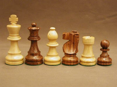 "Sheesham and Boxwood French Knight Chess Pieces Single Weighted and Felted, 3 1/2"" King - Peazz.com"