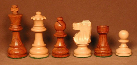 "Standard Sheesham and Boxwood Chess Pieces featuring French Knight, Weighted, 3 3/4"" King - Peazz.com"
