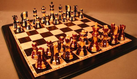 "Inlaid Sheesham/Ebony Chess Pieces, Double Weighted, 3 3/4"" King on 17 3/4"" Ebony/Birdseye Maple Chess Board - Peazz.com"